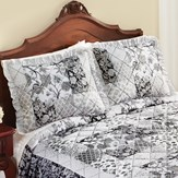 Grey Floral Patchwork Design Ruffled Pillow Sham