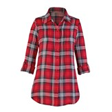 Lurex Pintuck Flannel Shirt with Roll-tab Sleeves