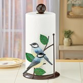 Hand Painted Metal Chickadees Paper Towel Holder