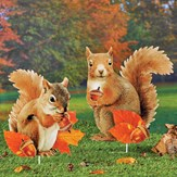 Realistic Squirrels with Autumn Leaves Garden Stake Set