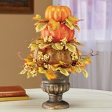 Sparkling Fall Pumpkins and Berries Tabletop Topiary