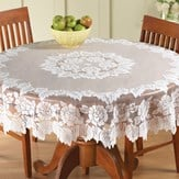 White Floral Lace Tablecloth