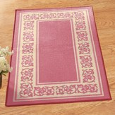 Protective Floral Border Slip-Resistant Accent Rug