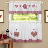 Gingham Country Hearts Cafe Curtain Set
