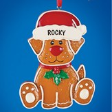 Gingerbread Dog Personalized Christmas Ornament